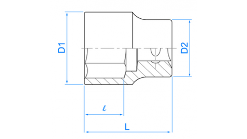 """Socket 1/2 """"- 38 mm - L 50 mm"""